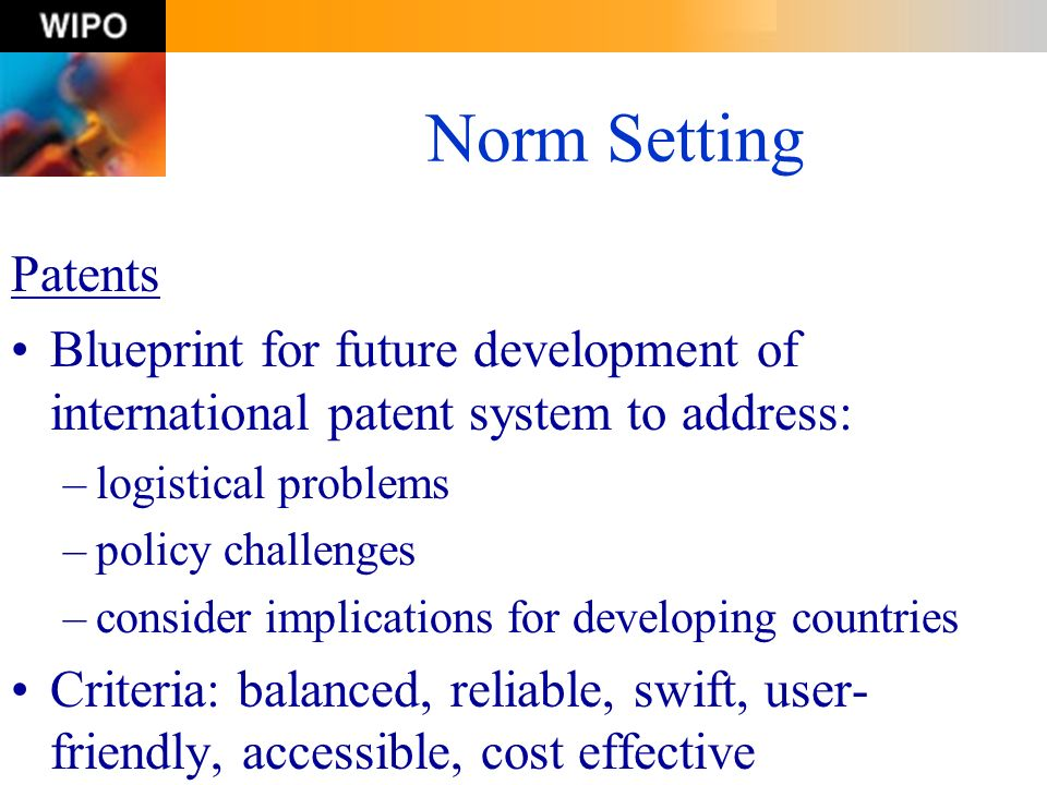 Norm Setting Patents. Blueprint for future development of international patent system to address: logistical problems.