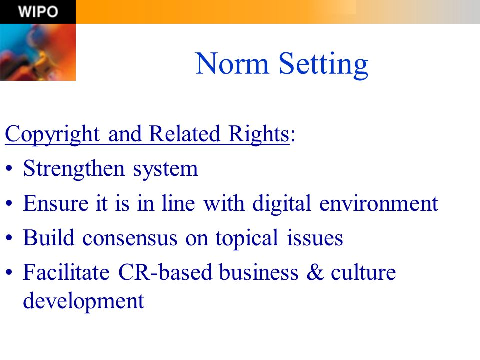 Norm Setting Copyright and Related Rights: Strengthen system