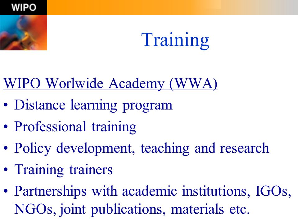 Training WIPO Worlwide Academy (WWA) Distance learning program