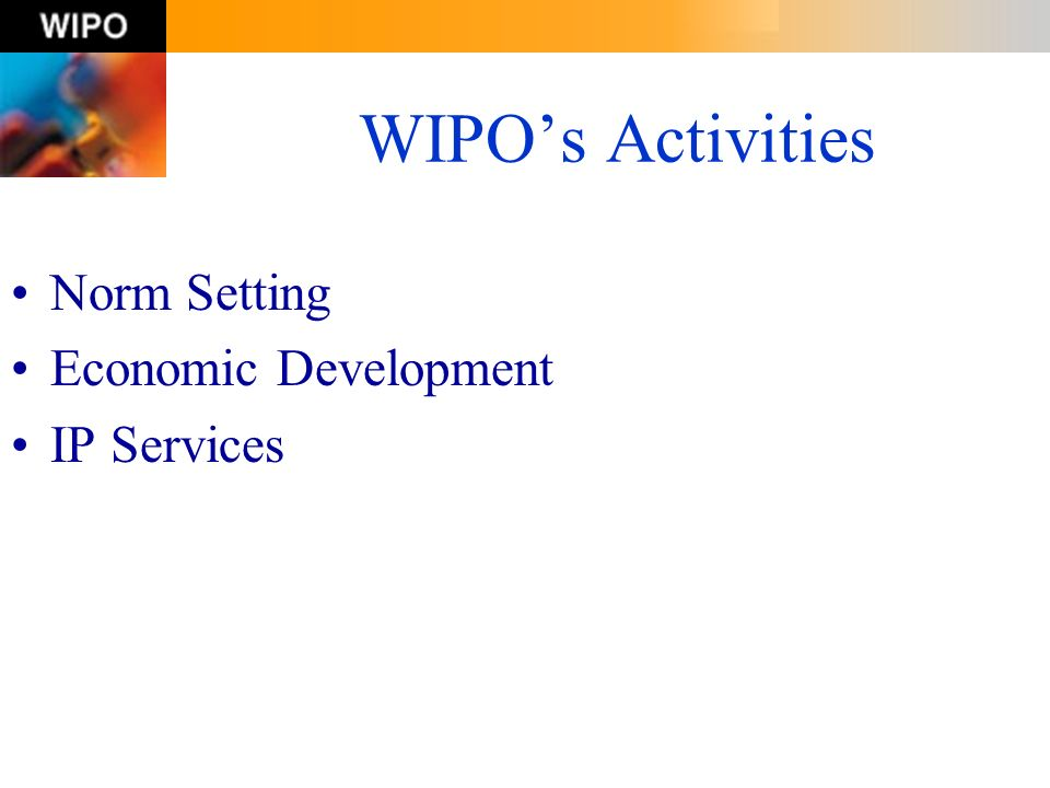 WIPO's Activities Norm Setting Economic Development IP Services