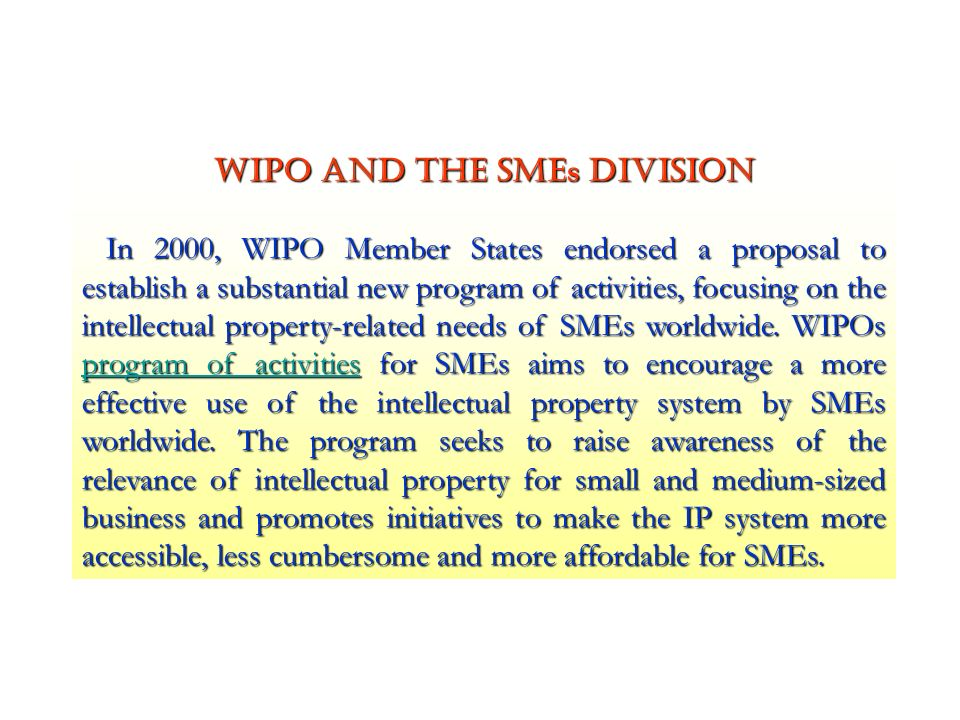WIPO and the SMEs Division