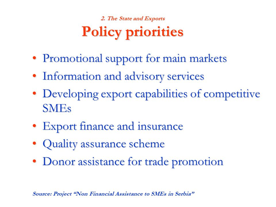 2. The State and Exports Policy priorities