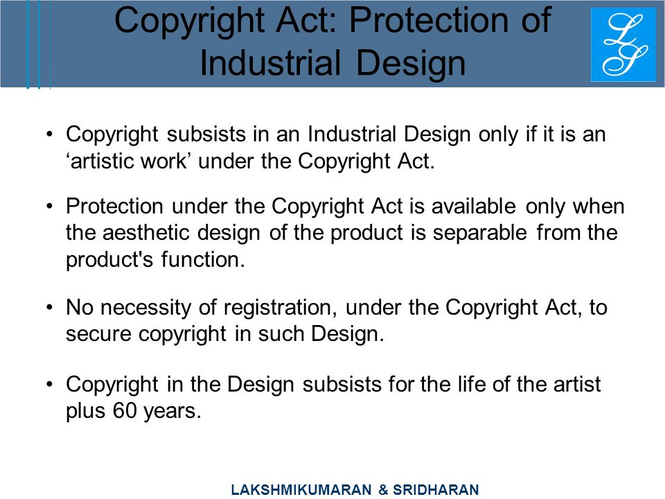 Copyright Act: Protection of Industrial Design