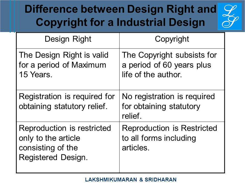 Difference between Design Right and Copyright for a Industrial Design
