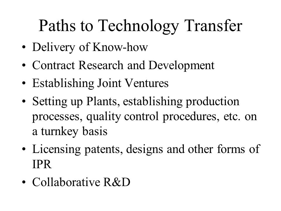Paths to Technology Transfer