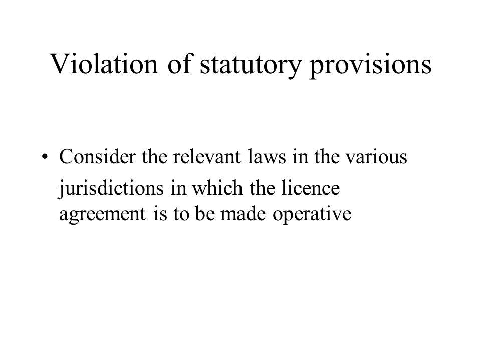 Violation of statutory provisions