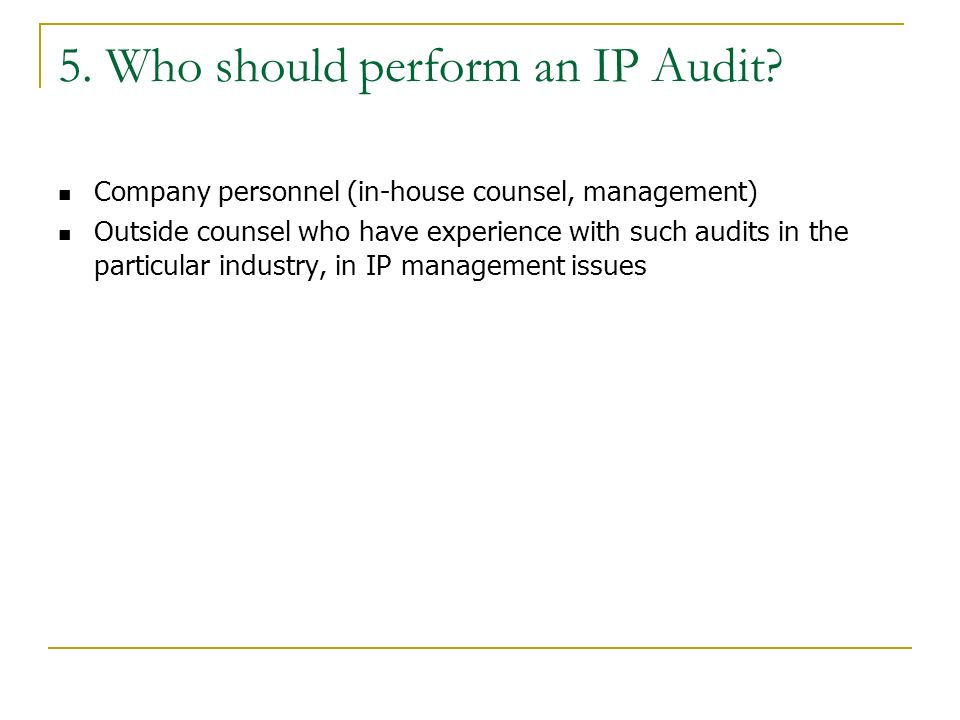 5. Who should perform an IP Audit