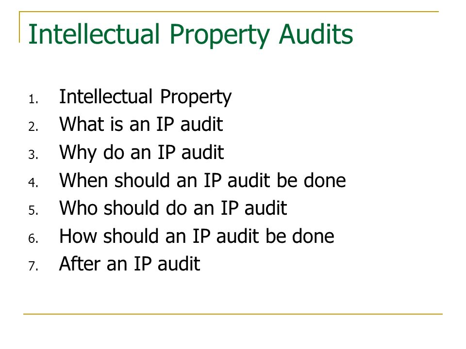 Intellectual Property Audits
