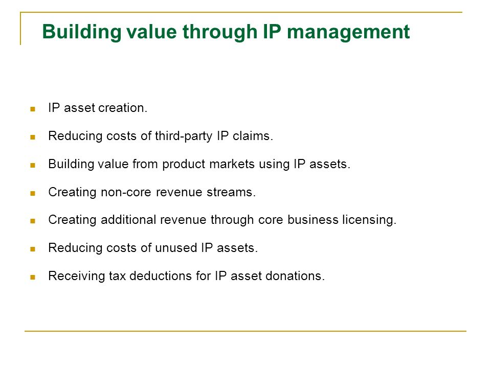 Building value through IP management