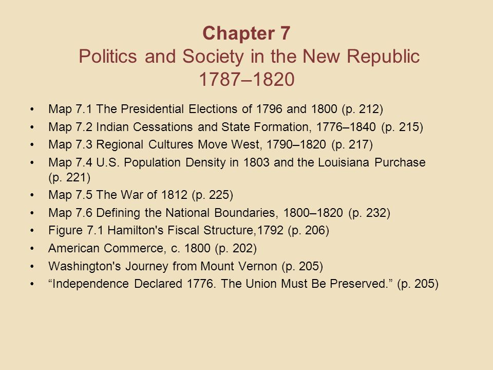Chapter 7 Politics And Society In The New Republic 1787 1820