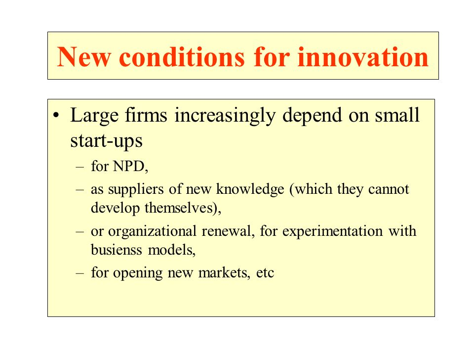 New conditions for innovation