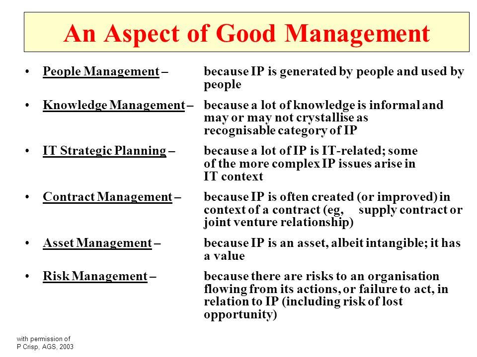 An Aspect of Good Management