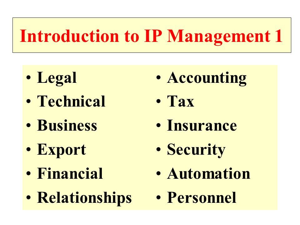 Introduction to IP Management 1