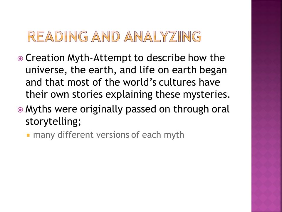 an analysis of different creation stories Creation in myth and literature in a different way stories of creation through formation have lasted till our day.