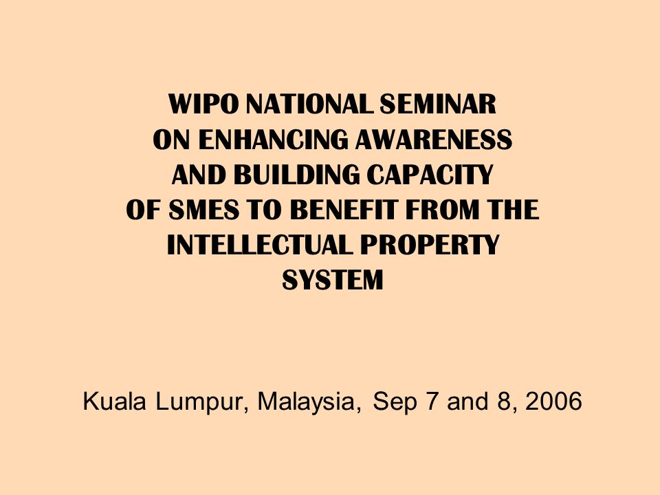 WIPO NATIONAL SEMINAR ON ENHANCING AWARENESS AND BUILDING CAPACITY OF SMES TO BENEFIT FROM THE INTELLECTUAL PROPERTY SYSTEM Kuala Lumpur, Malaysia, Sep 7 and 8, 2006