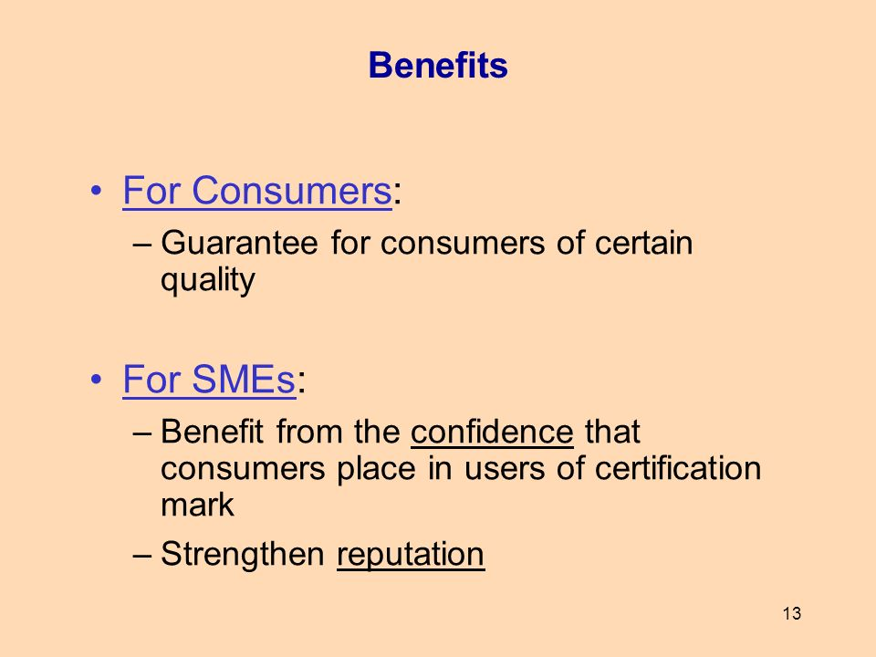 For Consumers: For SMEs: Benefits