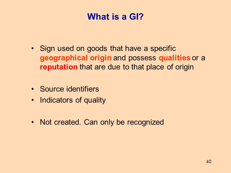 What is a GI Sign used on goods that have a specific geographical origin and possess qualities or a reputation that are due to that place of origin.