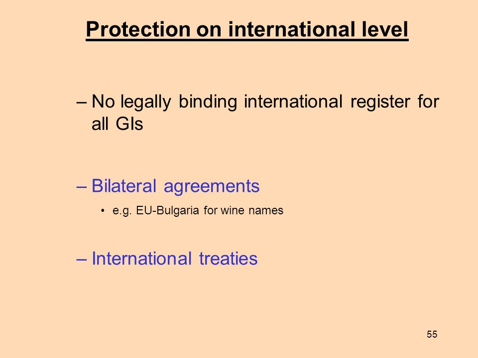 Protection on international level