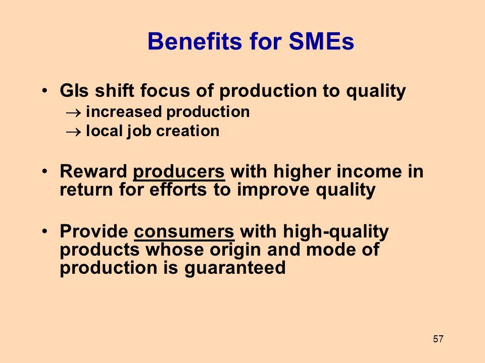 Benefits for SMEs GIs shift focus of production to quality