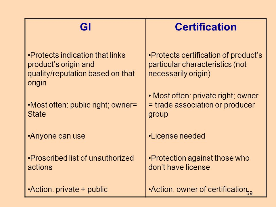 GI Protects indication that links product's origin and quality/reputation based on that origin. Most often: public right; owner= State.