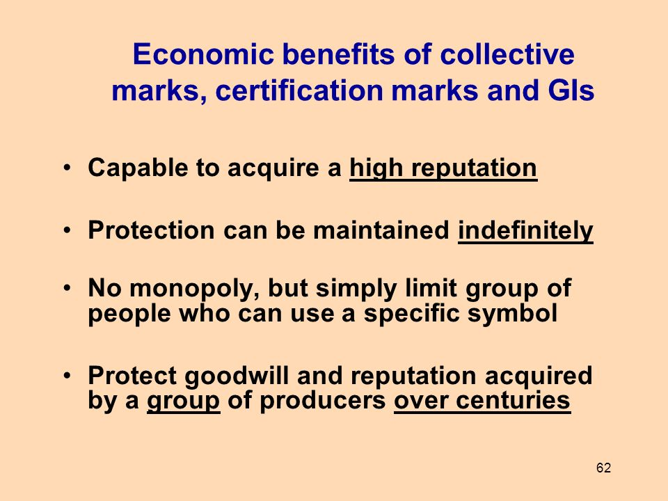 Economic benefits of collective marks, certification marks and GIs