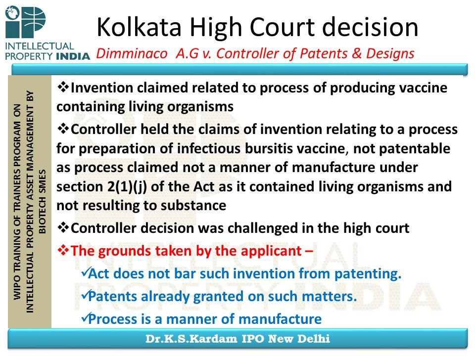 Kolkata High Court decision Dimminaco A. G v