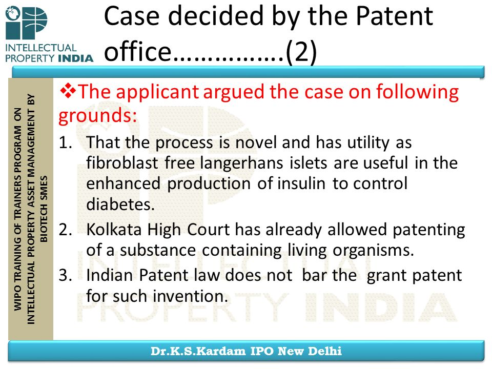 Case decided by the Patent office…………….(2)