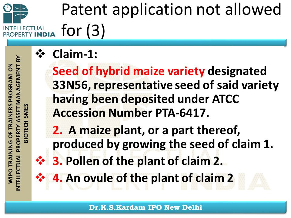 Patent application not allowed for (3)
