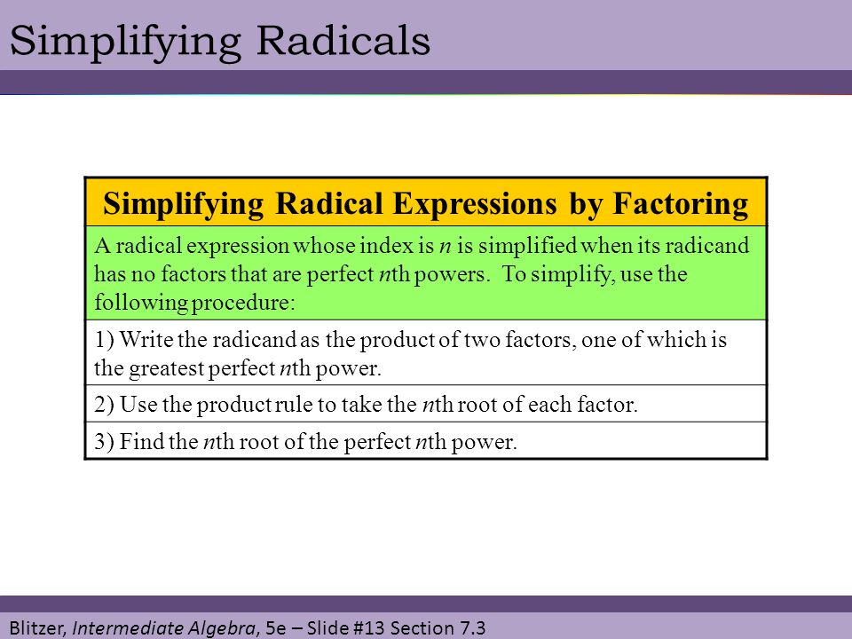 Simplifying Radical Expressions by Factoring