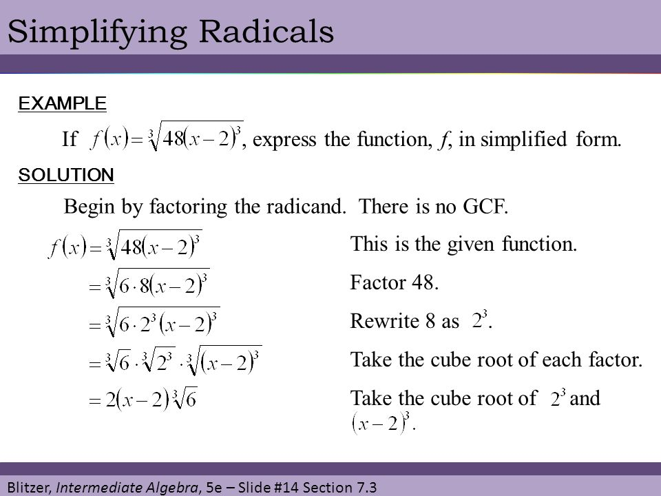 Simplifying Radicals If , express the function, f, in simplified form.