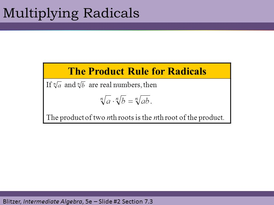 The Product Rule for Radicals