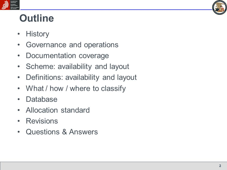 Outline History Governance and operations Documentation coverage