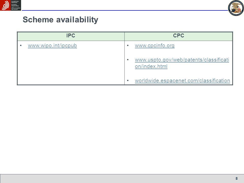 Scheme availability IPC CPC www.wipo.int/ipcpub www.cpcinfo.org