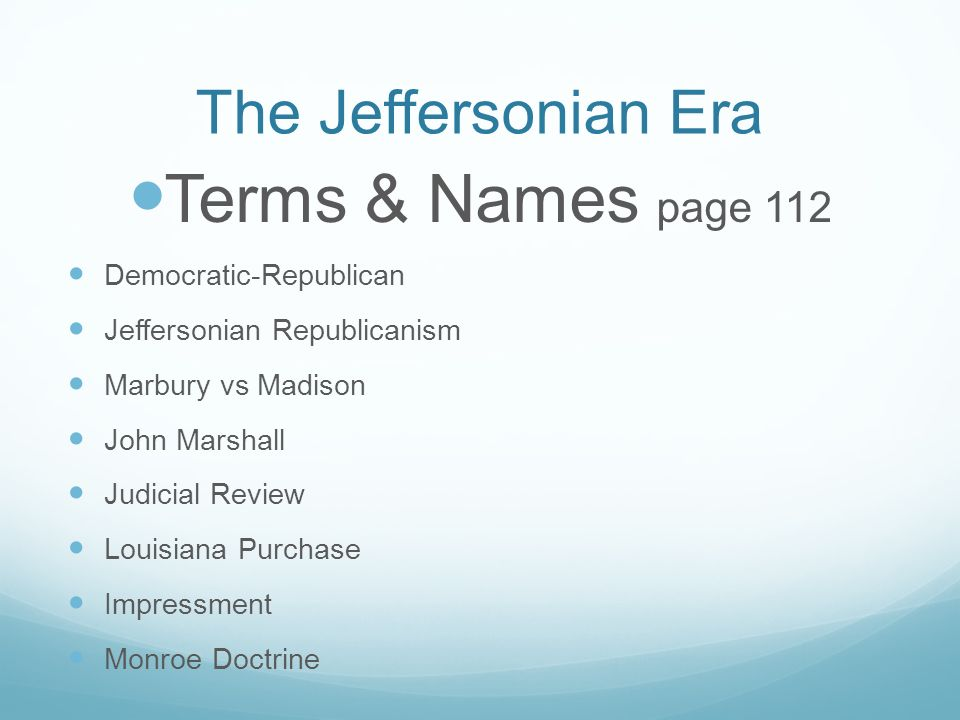 jefferson era study questions Quizlet provides chapter 10 jefferson era activities, flashcards and games start learning today for free.