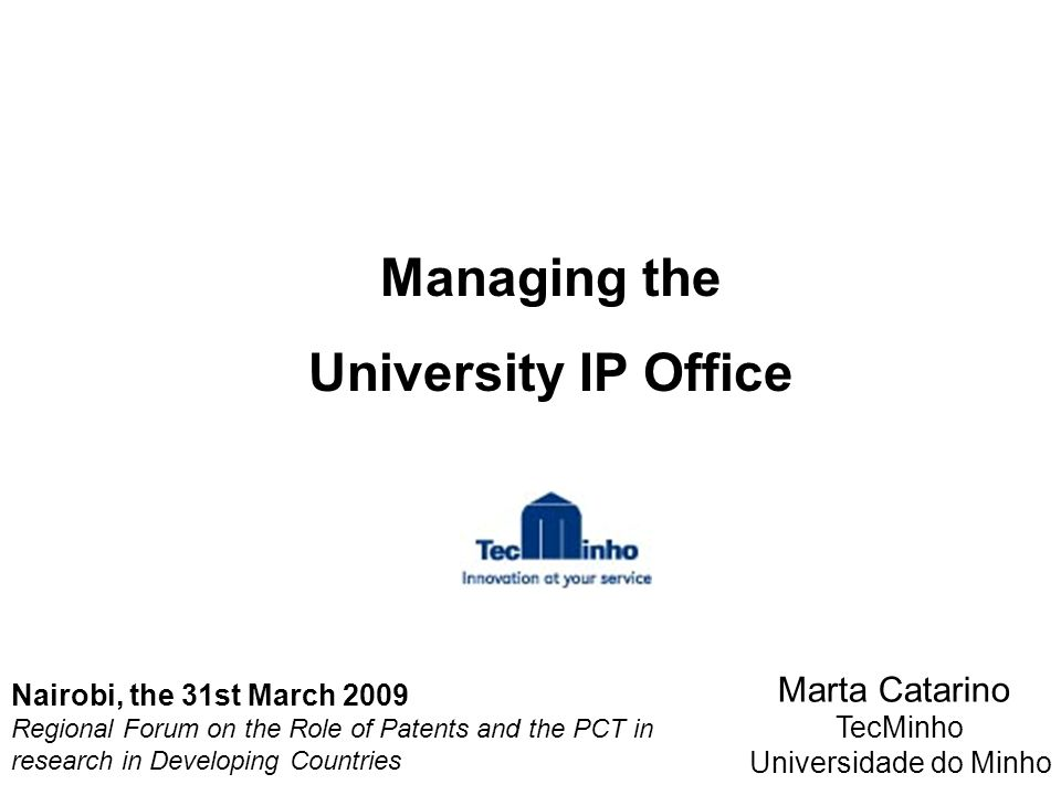 Managing the University IP Office