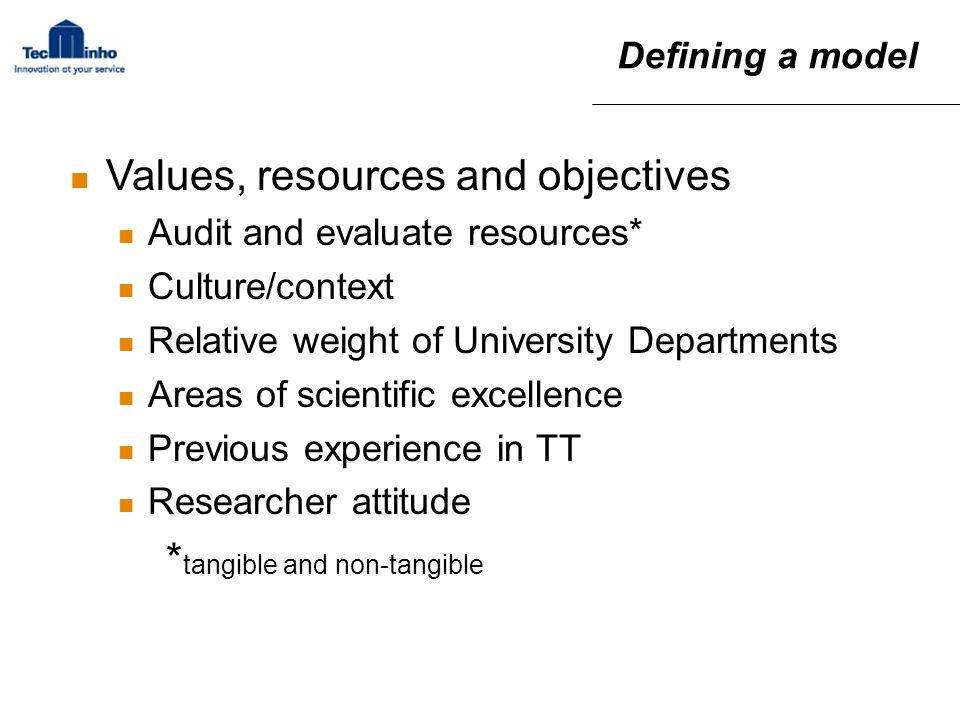 Values, resources and objectives