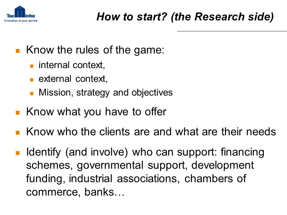 How to start (the Research side)