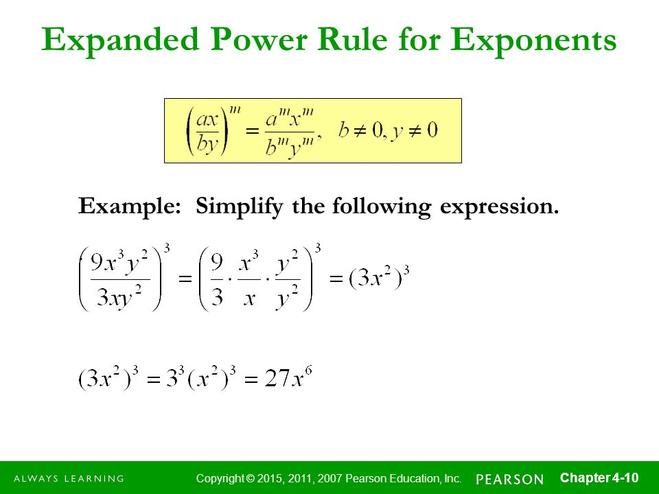 Expanded Power Rule for Exponents