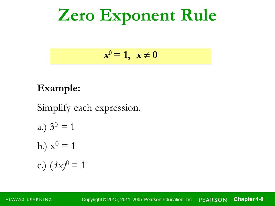 Zero Exponent Rule x0 = 1, x  0 Example: Simplify each expression.