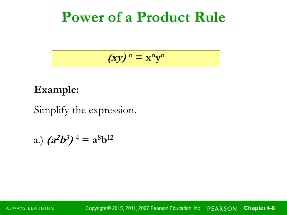 Power of a Product Rule (xy) n = xnyn Example:
