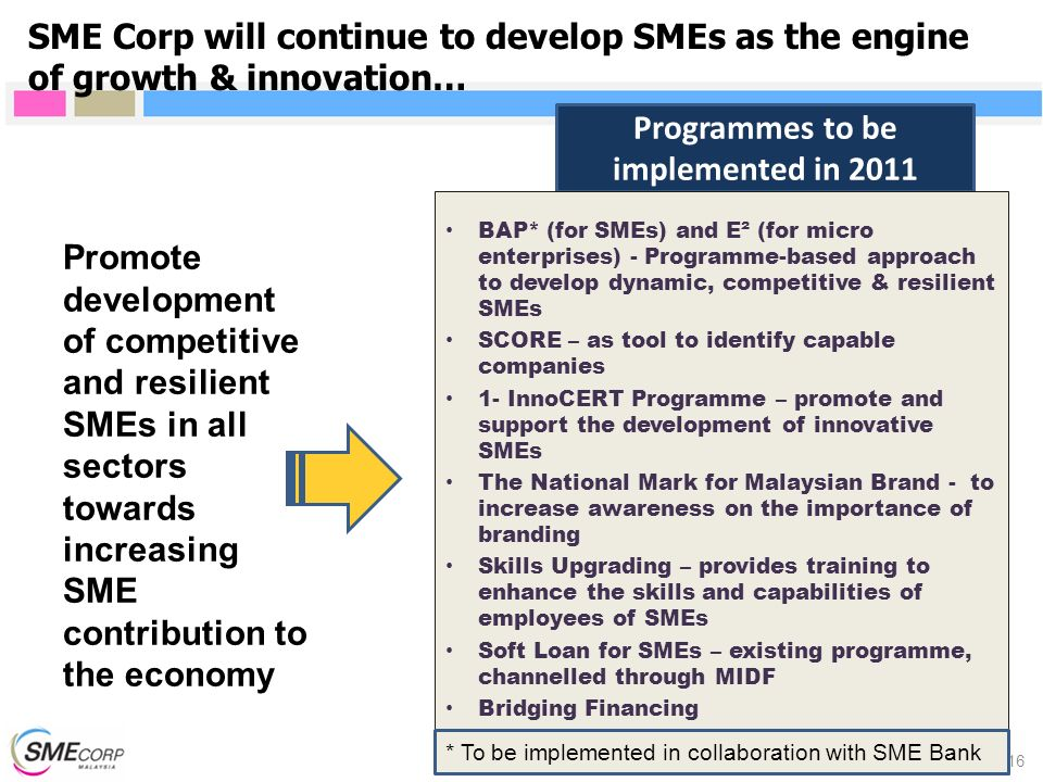 Programmes to be implemented in 2011