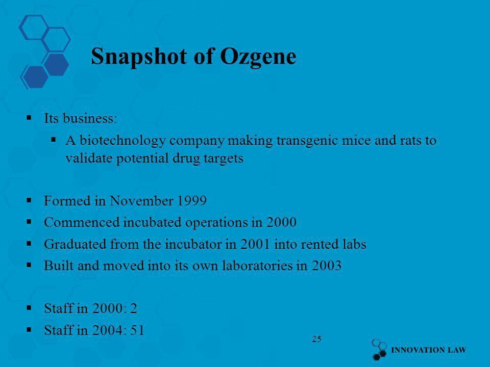 Snapshot of Ozgene Its business: