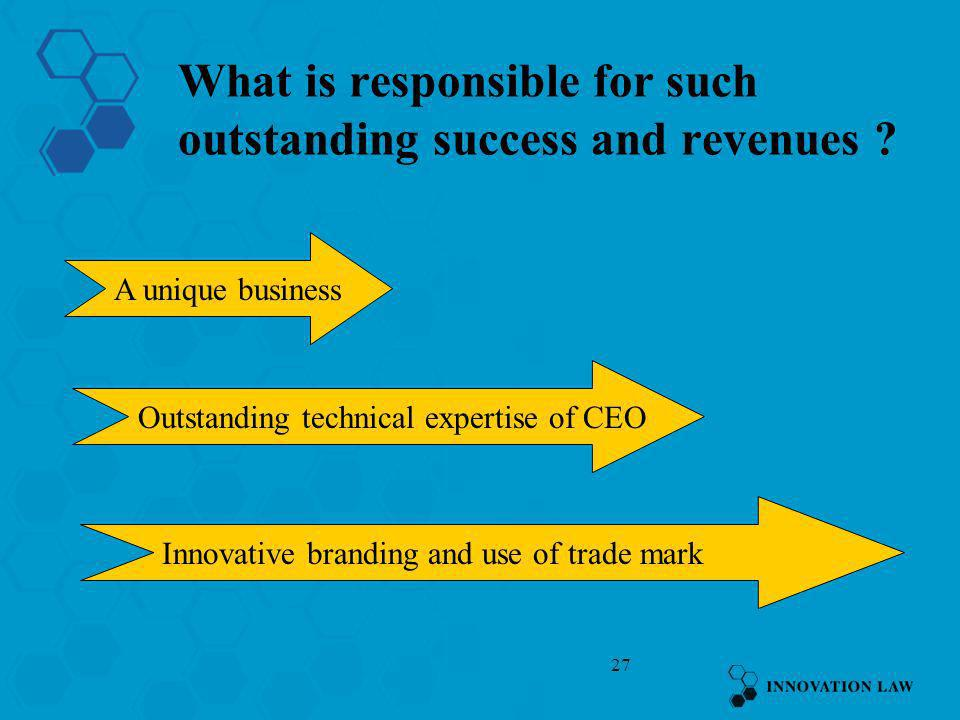 What is responsible for such outstanding success and revenues