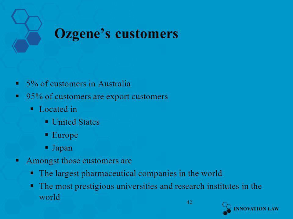Ozgene's customers 5% of customers in Australia