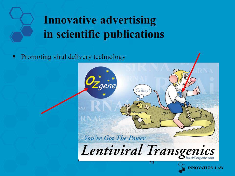 Innovative advertising in scientific publications