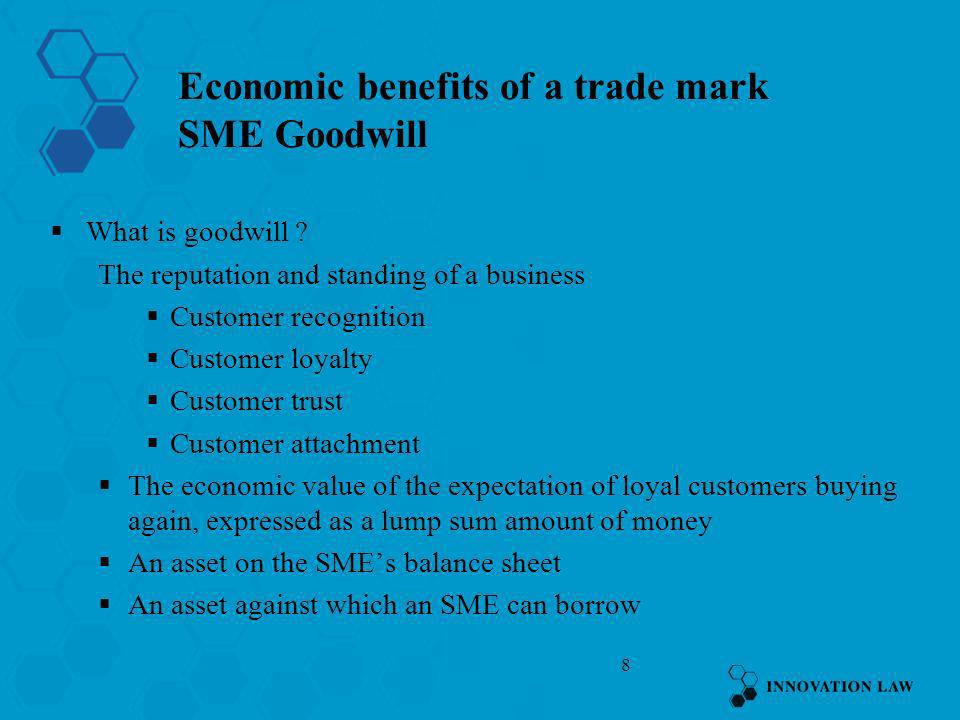 Economic benefits of a trade mark SME Goodwill