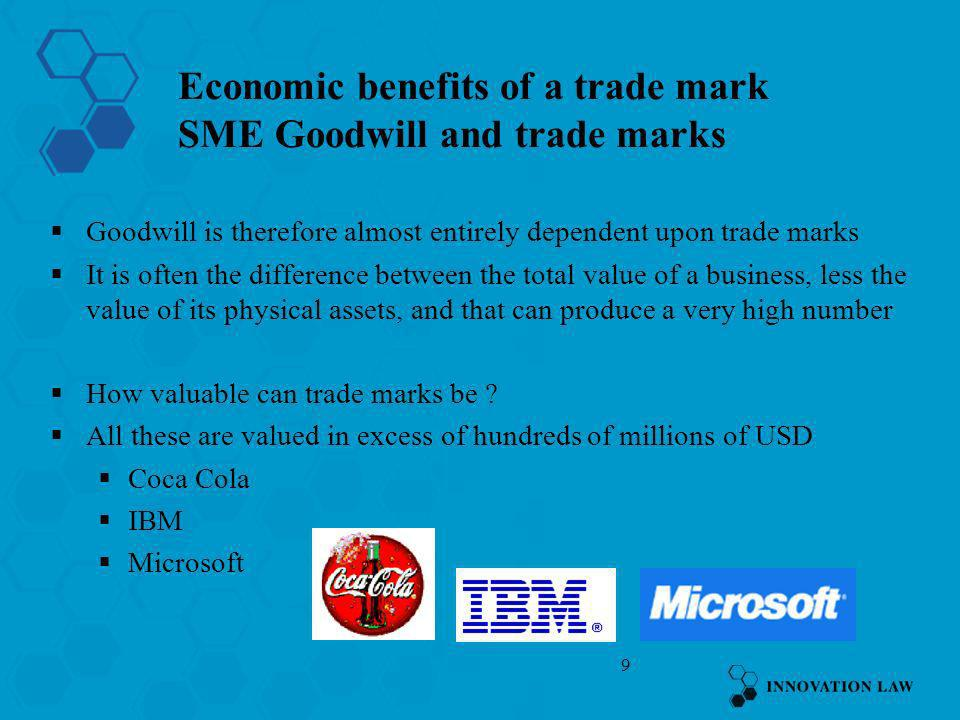 Economic benefits of a trade mark SME Goodwill and trade marks