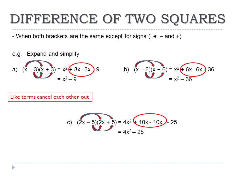 how to solve difference of squares