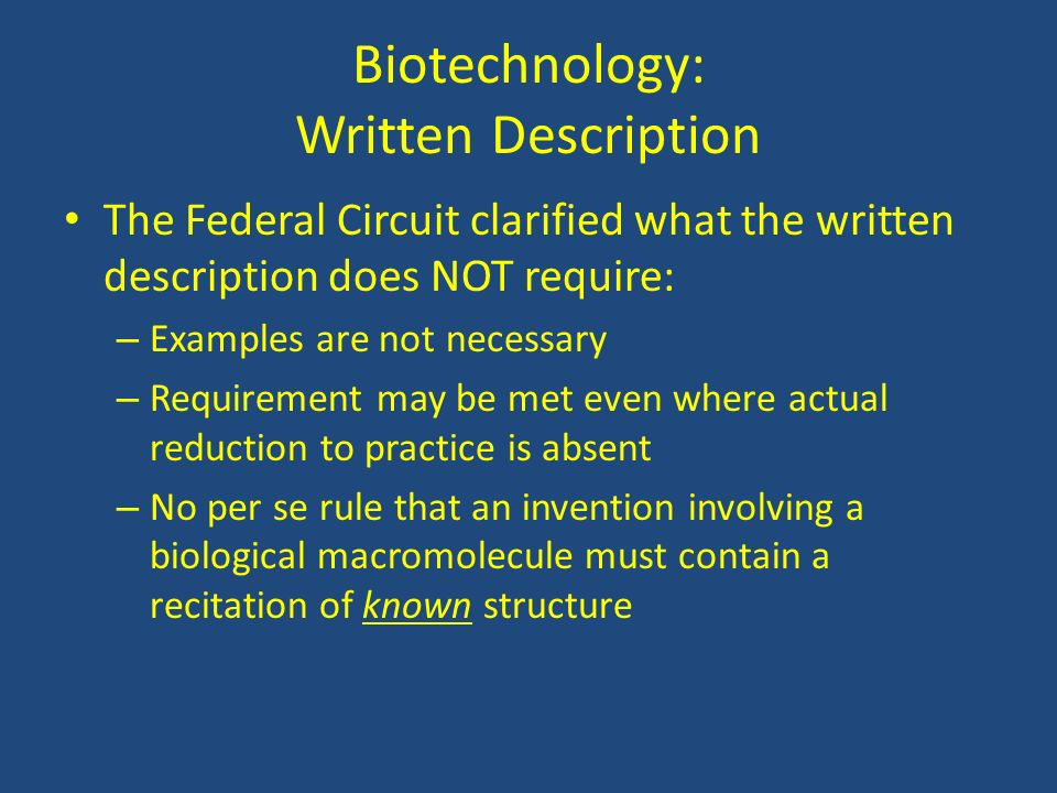 Biotechnology: Written Description
