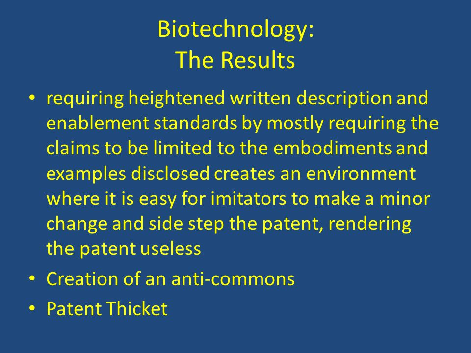 Biotechnology: The Results
